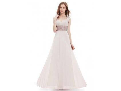 Ever Pretty plesové šaty s flitry jemně béžové 9672 (Velikost 3XL / 48 / 16 / 20)