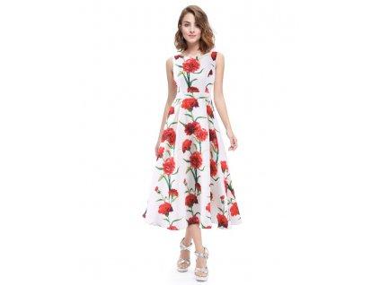 Ever Pretty luxusní letní šaty bílé s květy 5443 (Velikost 3XL / 48 / 16 / 20)