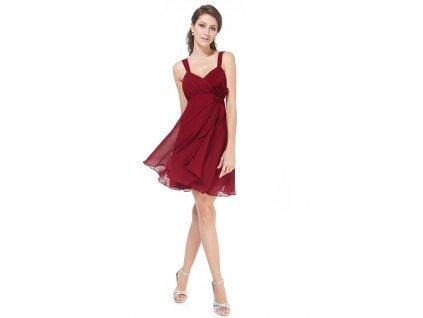 Ever Pretty šifonové šaty krátké bordo 3266 (Velikost 3XL / 48 / 16 / 20)