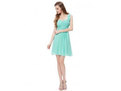 Ever Pretty šifonové šaty krátké tyrkysové 3535 (Velikost 3XL / 48 / 16 / 20)