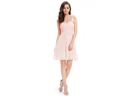 Ever Pretty šifonové šaty krátké růžové 3535 (Velikost 3XL / 48 / 16 / 20)