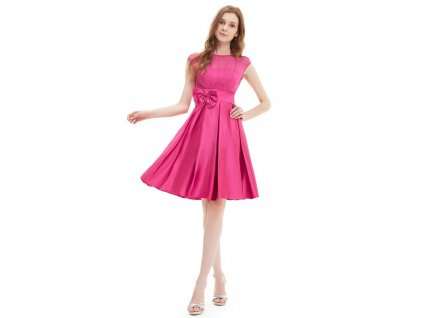 Romantické šaty krátké do tanečních, plesové růžové 6113 (Velikost 3XL / 48 / 16 / 20)