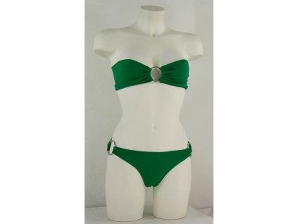 Plavky bez ramínek, bikiny, zelené s kruhy