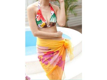 A Sarong, plážový šátek žlutý jemný s květy  015