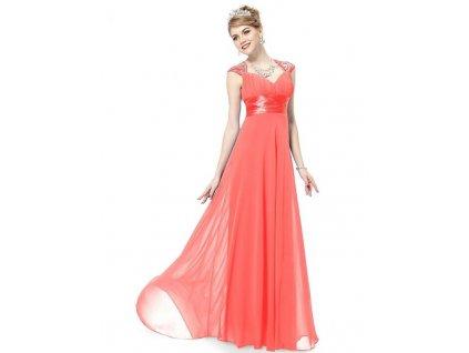 Ever Pretty plesové šaty s flitry lososová 9672 (Velikost 3XL / 48 / 16 / 20)