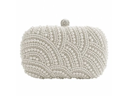 Společenská kabelka, psaníčko stříbrné s perličkami