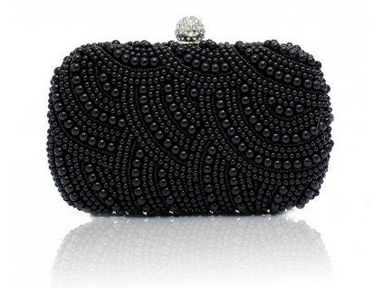 Společenská kabelka, psaníčko černé s perličkami
