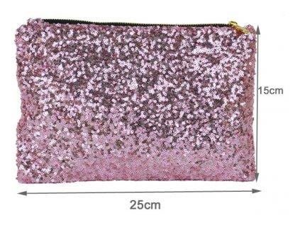 Společenská kabelka, psaníčko s flitry světle růžové