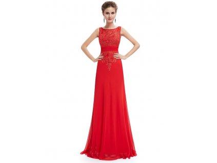 Ever Pretty plesové šaty s krajkou červené 8763 (Velikost 3XL / 48 / 16 / 20)