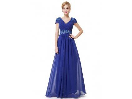 Ever Pretty plesové šaty s výšivkou modré 8467 (Velikost 3XL / 48 / 16 / 20)