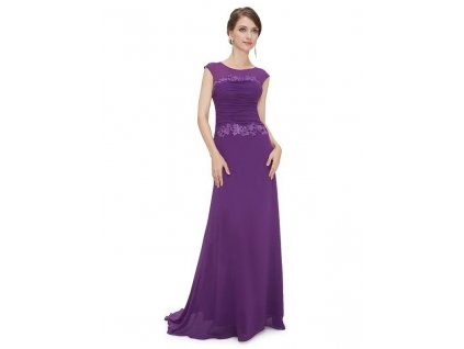 Plesové šaty s krajkou fialové - romantické Ever Pretty 8369 (Velikost 3XL / 48 / 16 / 20)