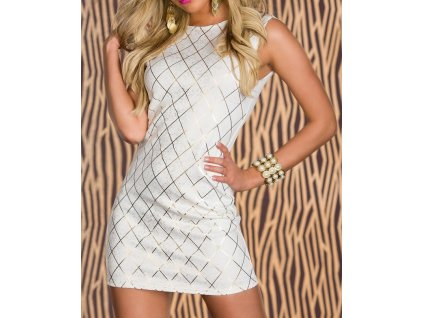 white shining square hot stamping bodycon party dress lc2996 1