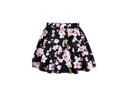 letní sukně s květy černá