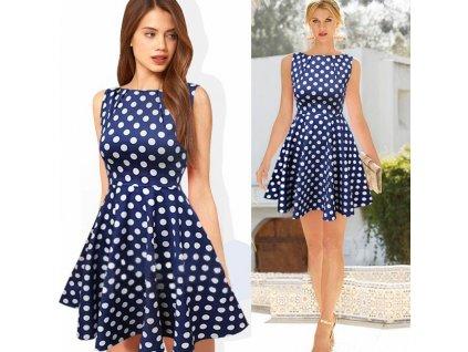 A Letní šaty puntíkaté modro bílé 2133
