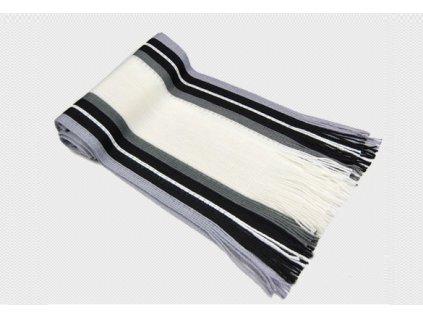 Pánská šála pruhovaná bílá - černošedá