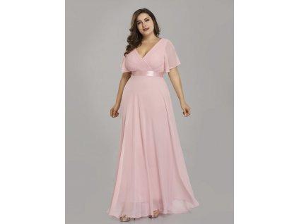 Dlouhé světle růžové šaty s krátkým rukávem