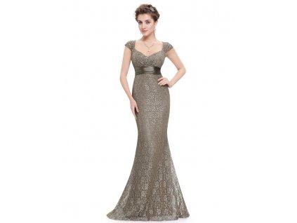 Ever Pretty plesové šaty s krajkou hnědé 8798