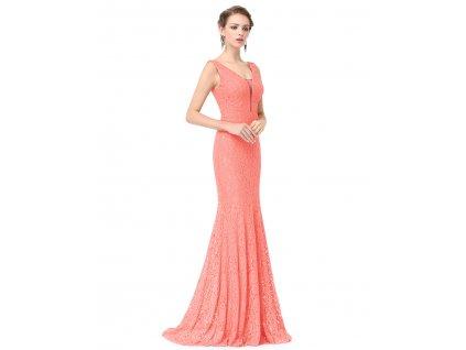 Plesové šaty společenské meruňková s krajkou 8838 ecf393a87ac