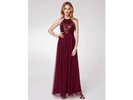 Tmavě červené bordo šaty s flitry