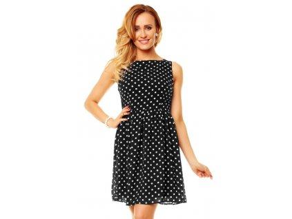 A Letní šaty černé s puntíky HS260