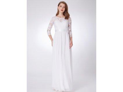 Dlouhé svatební šaty s krajkou a rukávem
