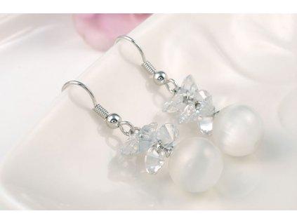 Náušnice dámské perla s kamínky