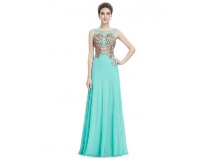 Ever Pretty plesové šaty tyrkysové s výšivkou 8811
