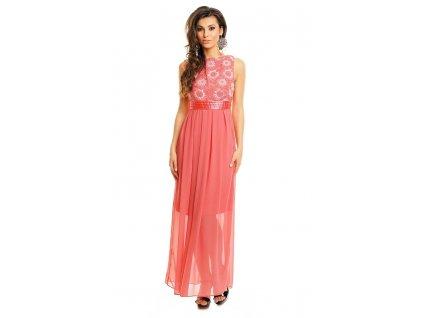 A Společenské šaty lososové s výšivkou květy