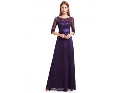 Dlouhé fialové šaty s rukávem a krajkou
