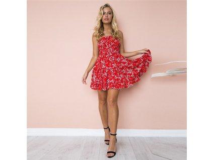 A Letní šaty k moři červené s květy 8690-4