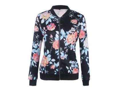 Dámská krátká bunda, mikina květinová