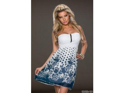 A Letní krátké šaty bílé s modrými květy 9903 ff5e3a7609