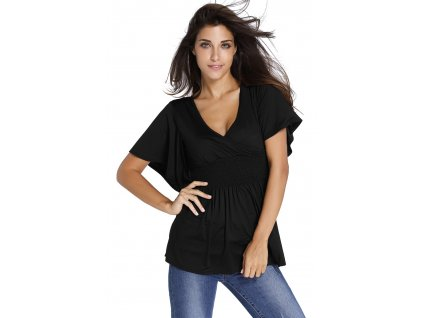 Black V Neck Short Batwing Sleeve High Elastic Waist Blouse LC25788 2 16684