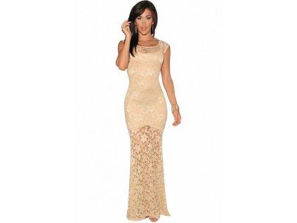 A Krásné dlouhé krajkové šaty světle meruňkové 6350 72d3475f40