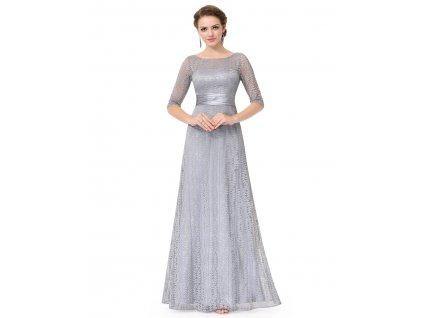 Dlouhé šedé šaty plesové s krajkou a rukáv