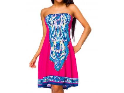 A Letní šaty k moři magenta, růžové s krásným vzorem 966
