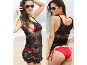Háčkované šaty na pláž černé