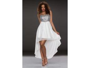 Plesové šaty bílé se stříbrnými flitry 111-1