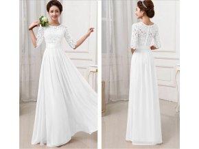 Bílé plesové šaty dlouhé s krajkou