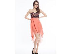 Plesové šaty meruňkové s výšivkou