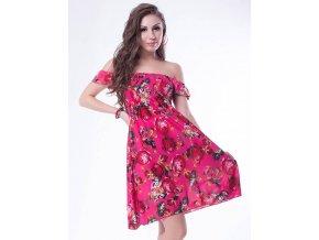 Letní šaty k moři růžové s květy