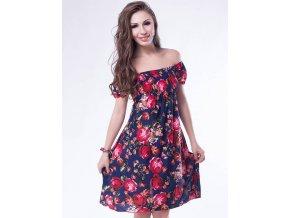 Letní šaty k moři modrý s květy