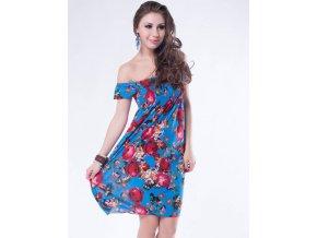 Letní šaty k moři modrý světlý s květy