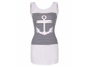 Letní tunika, tričko dlouhé námořnické kotva bílé