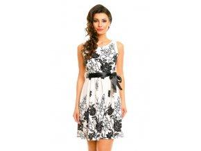Letní společenské šaty světlé s květy HS226 vel. M