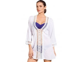 Letní plážová tunika bílý s krajkou