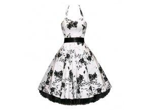 Letní šaty s květy bílé retro styl květy