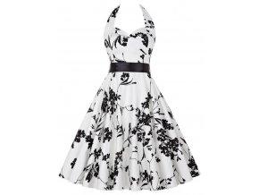Letní šaty s květy bílé retro styl květy 2
