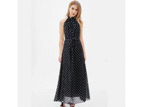 Letní šaty černé s puntíky bez rukávů 871