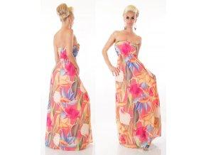Letní šaty dlouhé jemné růžové s květy ST125